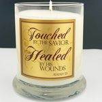 "NEW WATERFORD GLASS SCRIPTURE CANDLE ""HEALED...""- F&M"