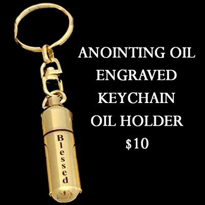 """BLESSED"" - GOLD TONE KEYCHAIN OIL HOLDER"