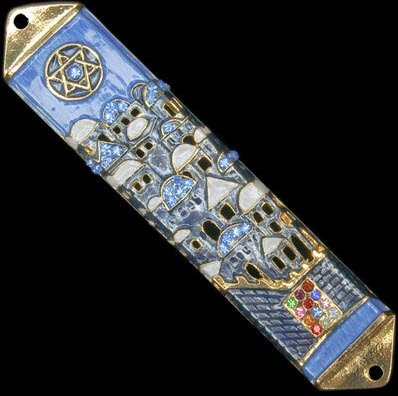 Blue City of Jerusalem Jeweled Mezuzah with Hoshen
