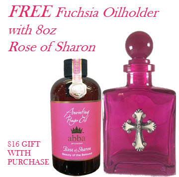 8 oz Rose of Sharon Anointing Oil - GET FREE 5oz Fuchsia  Cross decanter