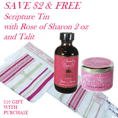 FREE Scripture Tin with 2 oz Rose of Sharon Anointing Oil and Pink Talit