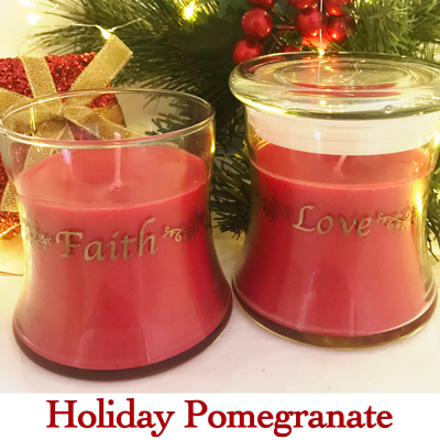 Faith * Love* Peace* Joy* Candle in Pomegranate
