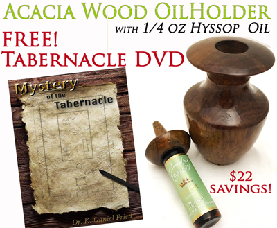 "Acacia Wood Oil Holder w/ 1/4oz Anointing Oil with FREE ""Mystery of the Tabernacle"" DVD"