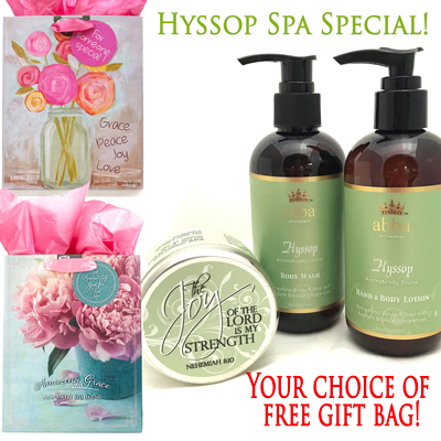 Hyssop Body Wash & Lotion with Scripture Tin and FREE Gift bag