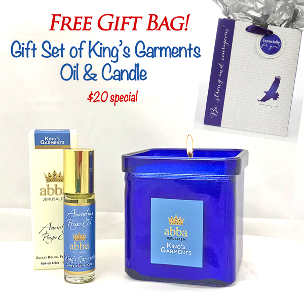 "Cobalt King's Garments Candle / 1/3 oz OIl and FREE ""Courageous"" Gift Bag"
