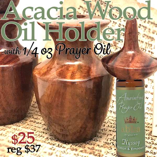 Acacia Wood Oil Holder w/ 1/4oz Anointing Oil (Reg. $36.99)