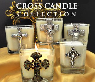 NEW! PEWTER CROSS CANDLES